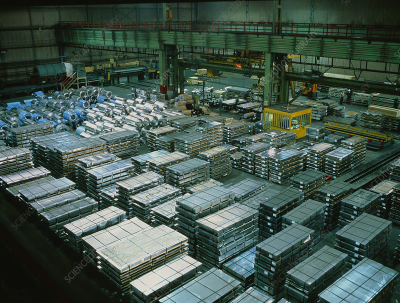 Refined sheet steel stored in a warehouse.
