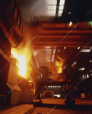 Time exposure photo of blast furnace