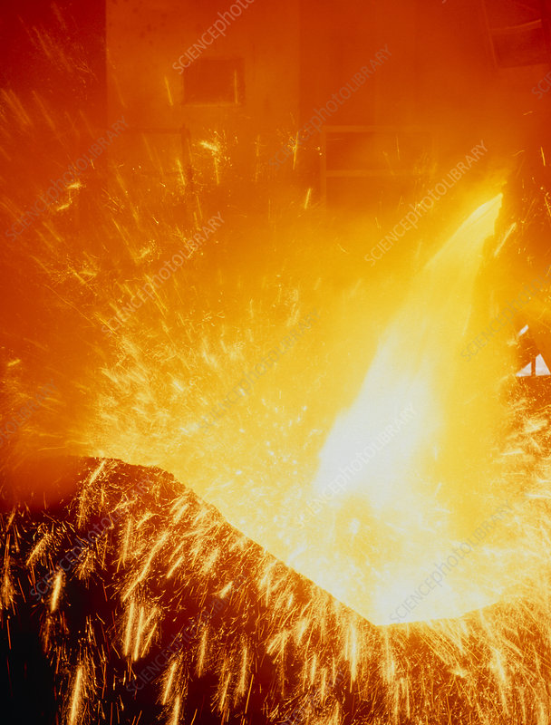Molten steel pouring into a blast furnace.