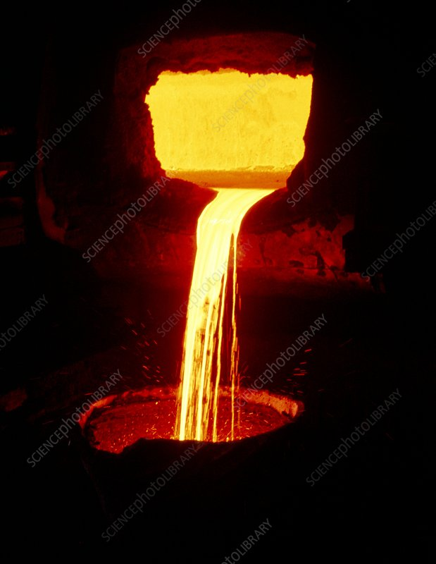 Molten nickel pouring from a blast furnace