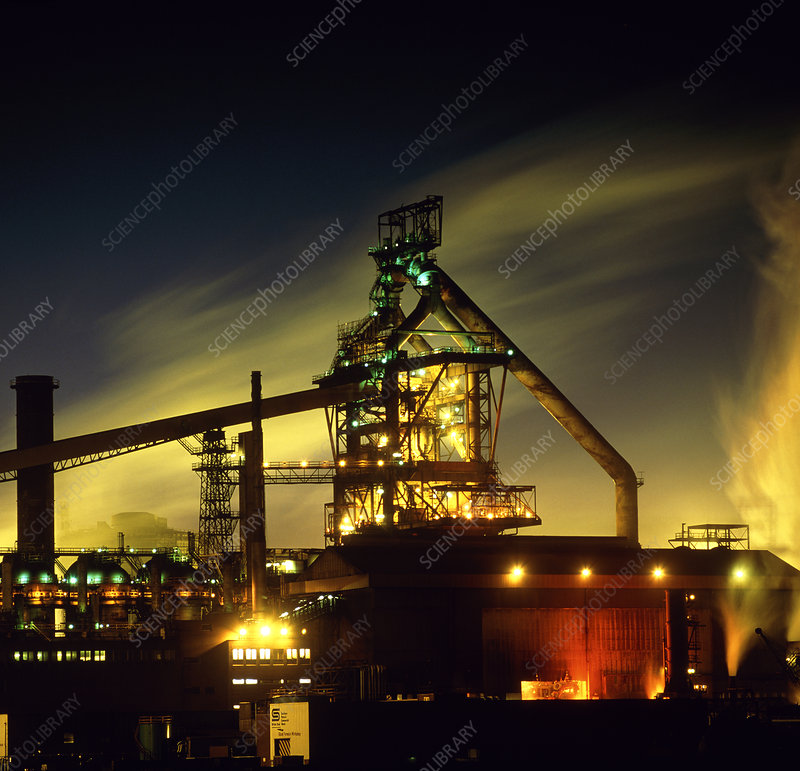 View of Redcar steel works at night