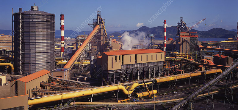 Blast furnaces at an integrated steel plant
