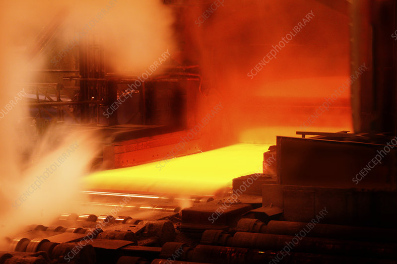 Hot steel at a steel mill