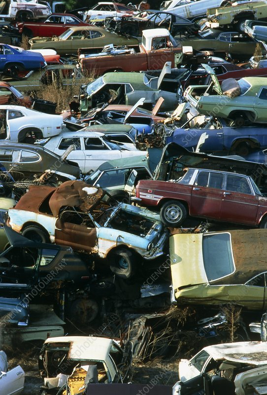 Landscape covered with scrap motor cars