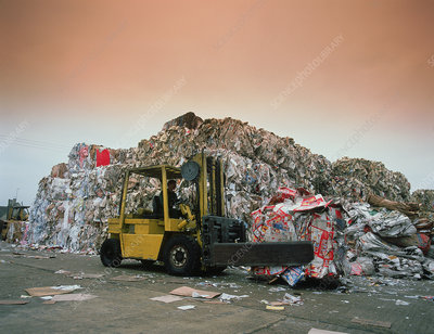 Baled waste paper awaiting transport