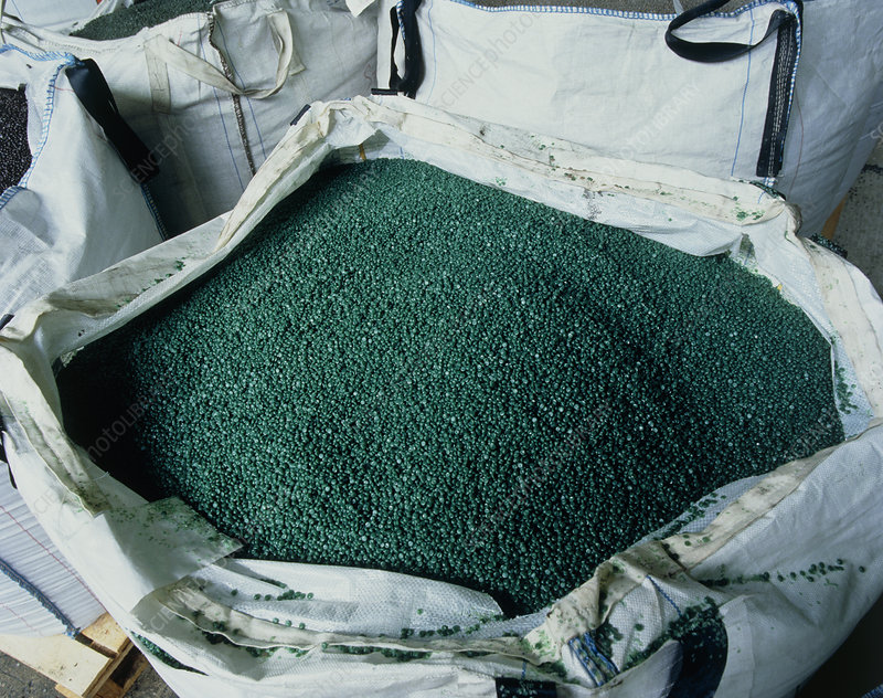 Pellets of recycled polythene