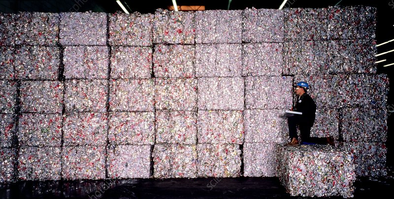 Recycling aluminium: bales of crushed drinks cans