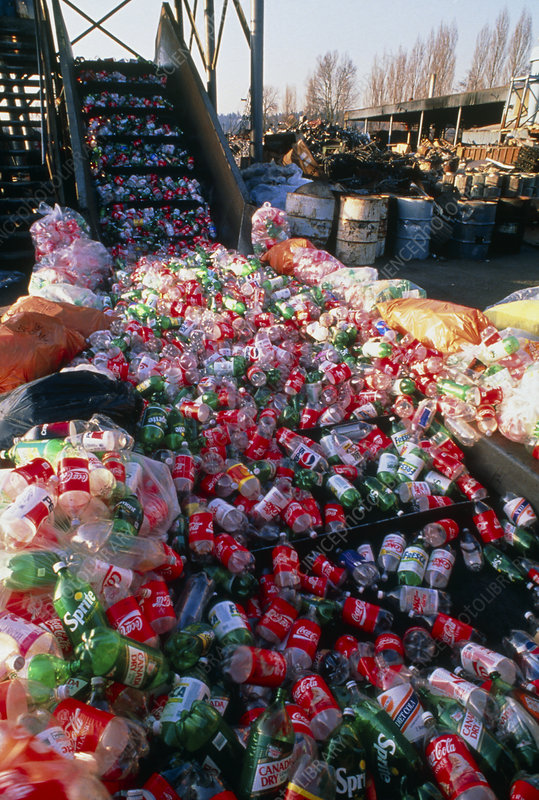 PET plastics drink bottles at recycling facility