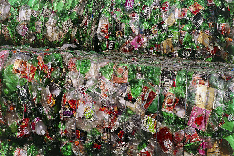 Crushed PET drink bottles at recycling facility
