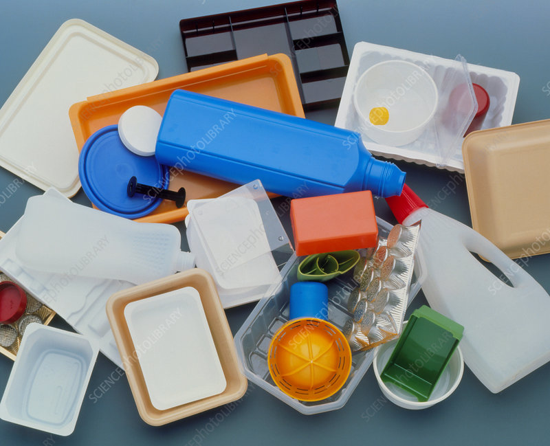 Jumble of empty plastic containers for recycling