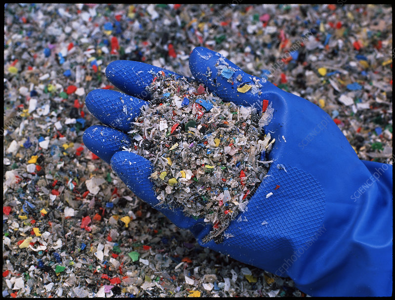 Shredded plastic waste at recycling plant