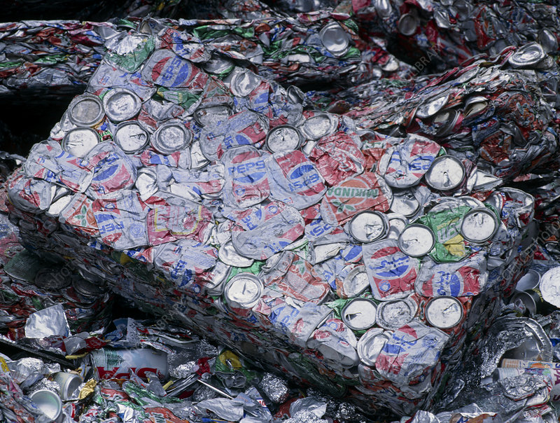 Aluminium drinks cans compacted prior to recycling