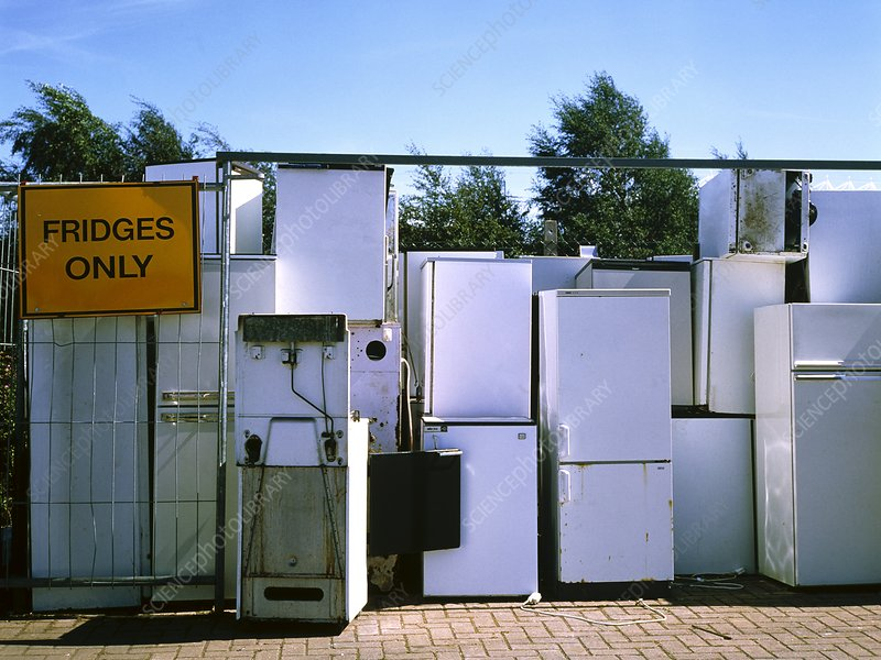 Refrigerators at a household refuse disposal site