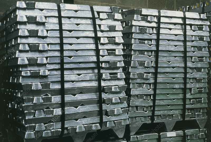 Stacks of ingots of recycled aluminium