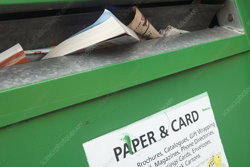 Paper and card recycling bin
