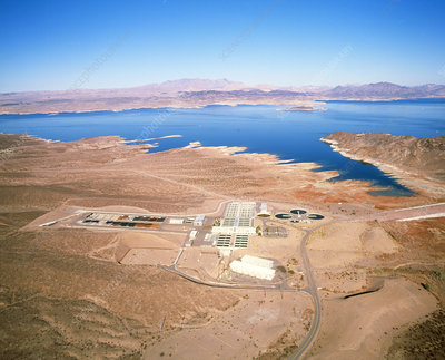 Aerial view of a desalination plant on Lake Mead