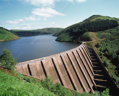 Dam of the Clywedog reservoir