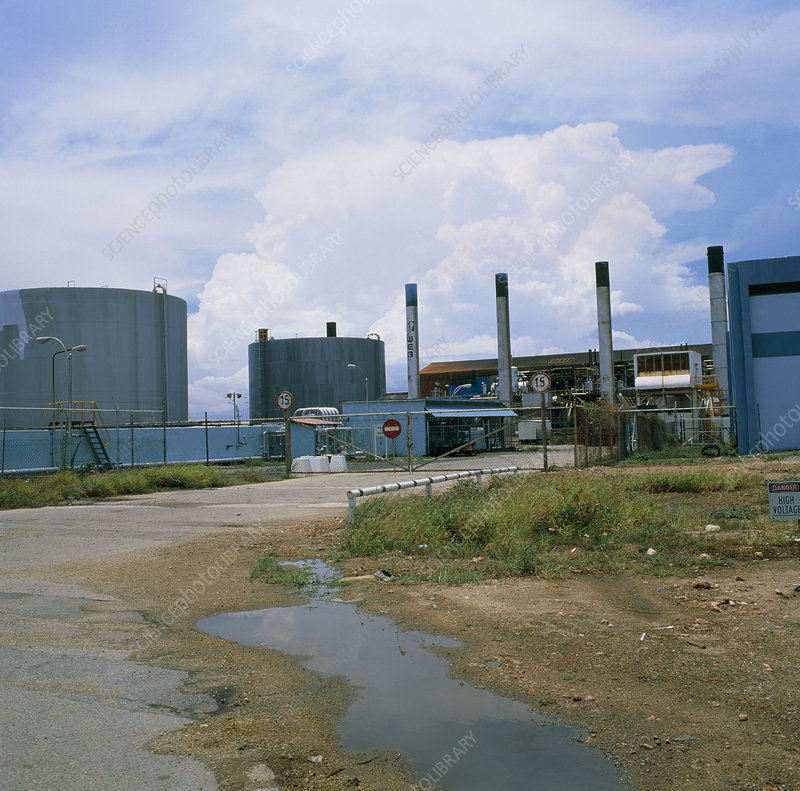 View of a desalination plant on Aruba