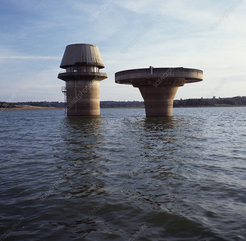 Water towers at a reservoir