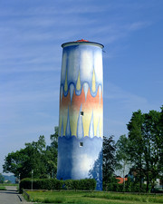 Painted water tower
