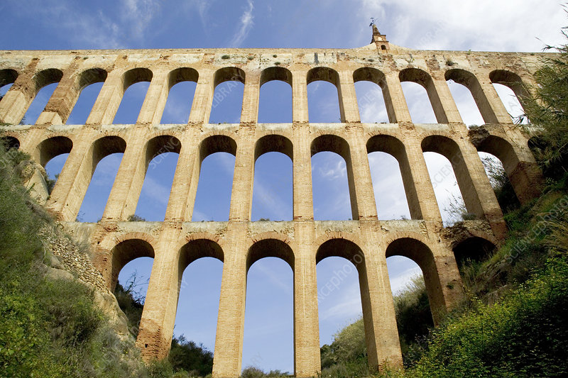 19th Century aqueduct at Nerja, Spain