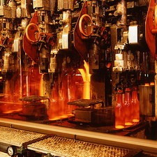 Production line in manufacture of glass bottles