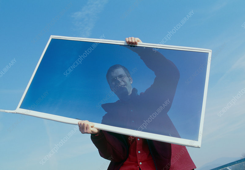 Man holding an opaque gasotrope window