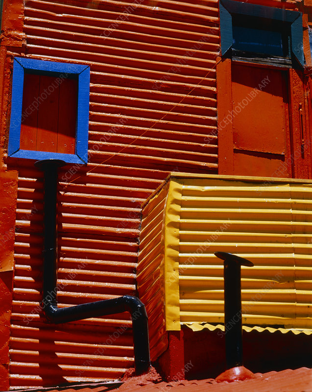 Brightly painted domestic residence
