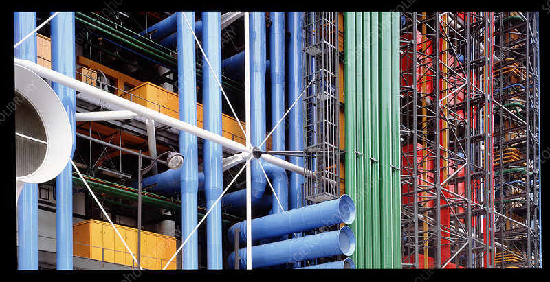 Pompidou Centre, a steel-frame building in Paris