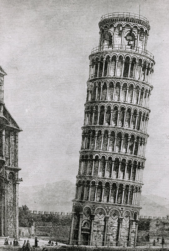 Engraving of the leaning tower of Pisa