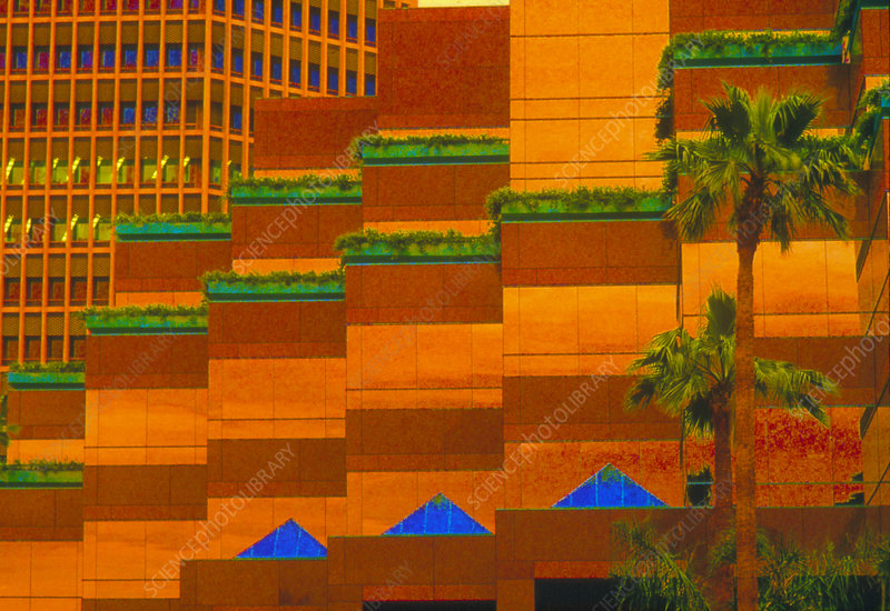 Computer-enhanced view of Wilshire Boulevard, LA