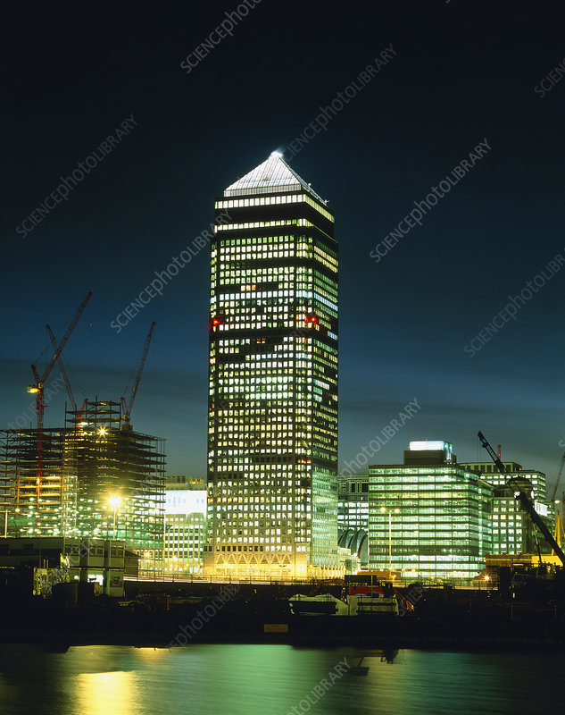 The tower block at Canary Wharf, London, at night
