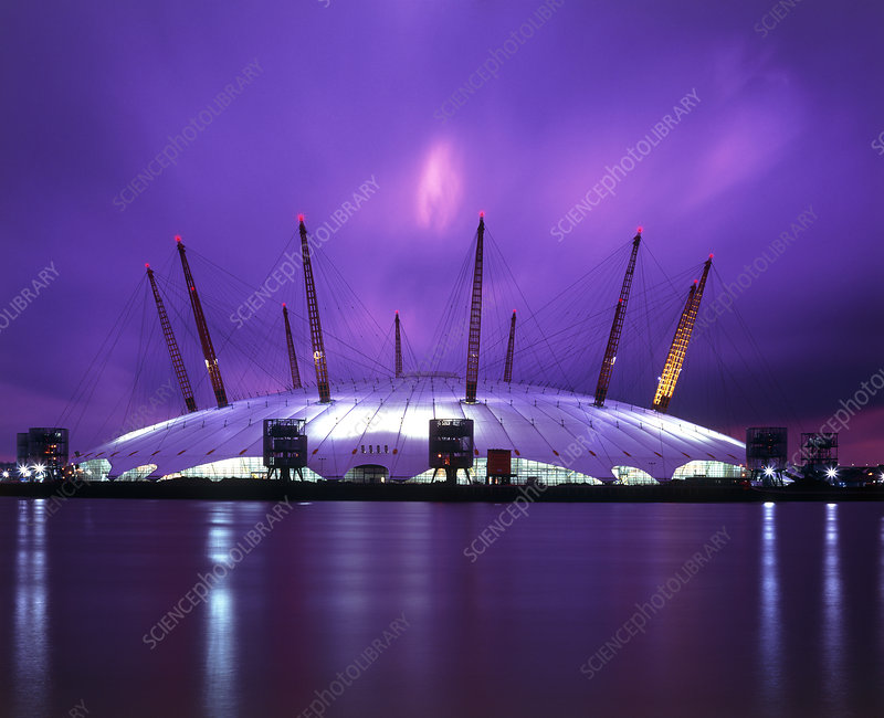 Night-time view of the Millennium Dome, London, UK