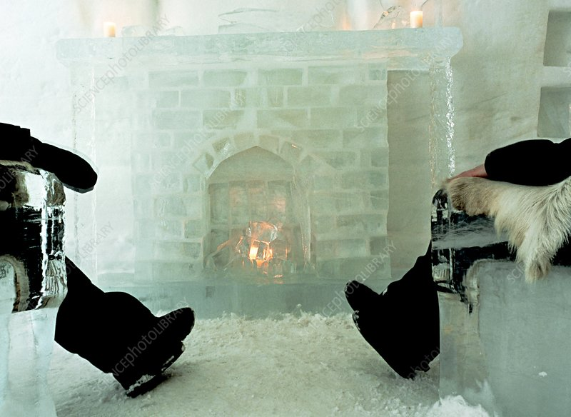 Ice Hotel fireplace