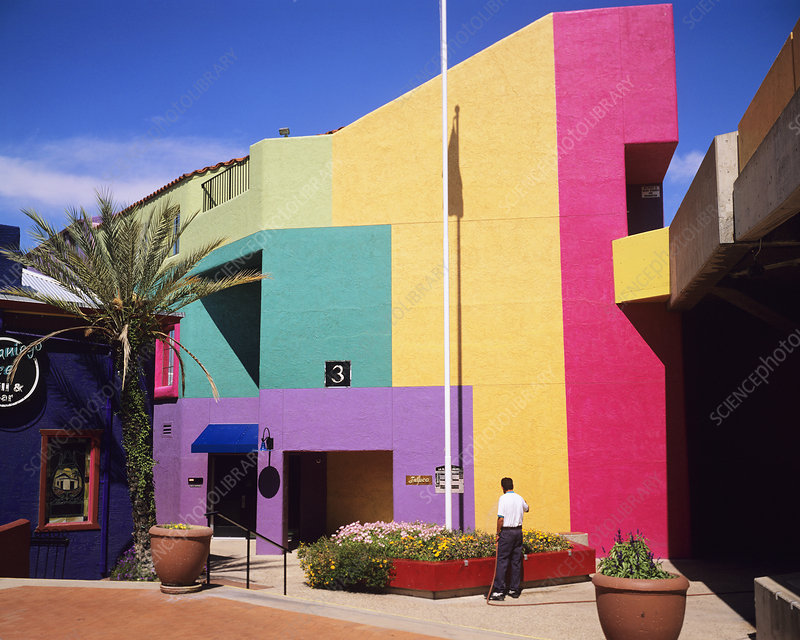 Brightly coloured building