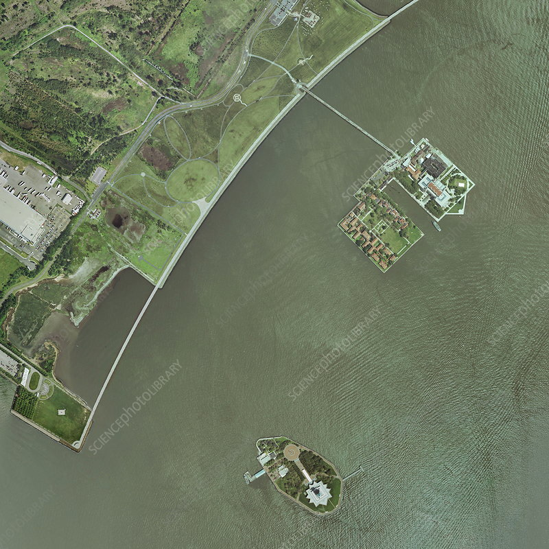 Ellis and Liberty Islands, aerial image