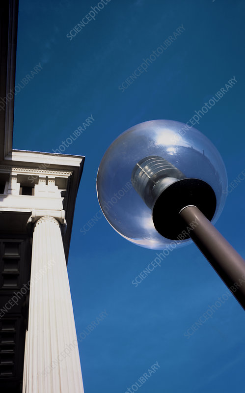 Architectural detail and lampost