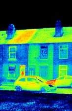 Houses and road, thermogram