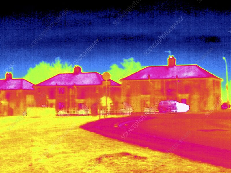 Houses and parked cars, thermogram