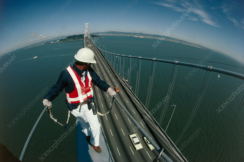 Engineer inspecting the San Francisco Bay Bridge