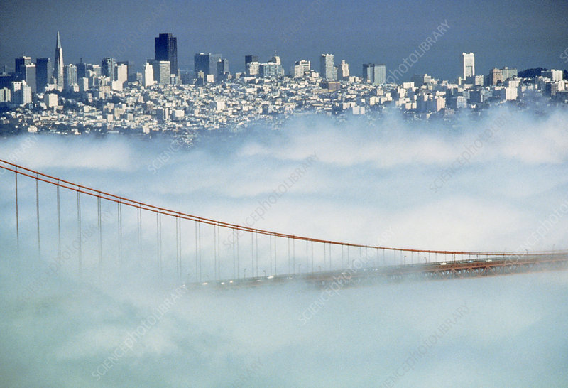 View of the Golden Gate Bridge in fog