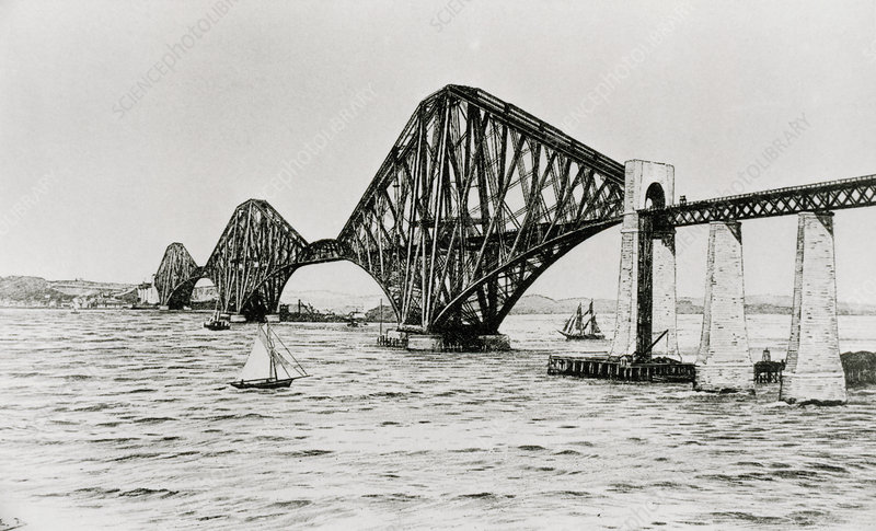Engraving of the Firth of Forth bridge, Scotland
