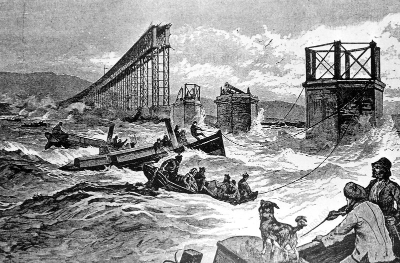 Engraving of the Tay Bridge disaster, Scotland