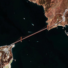 Golden Gate Bridge, satellite image