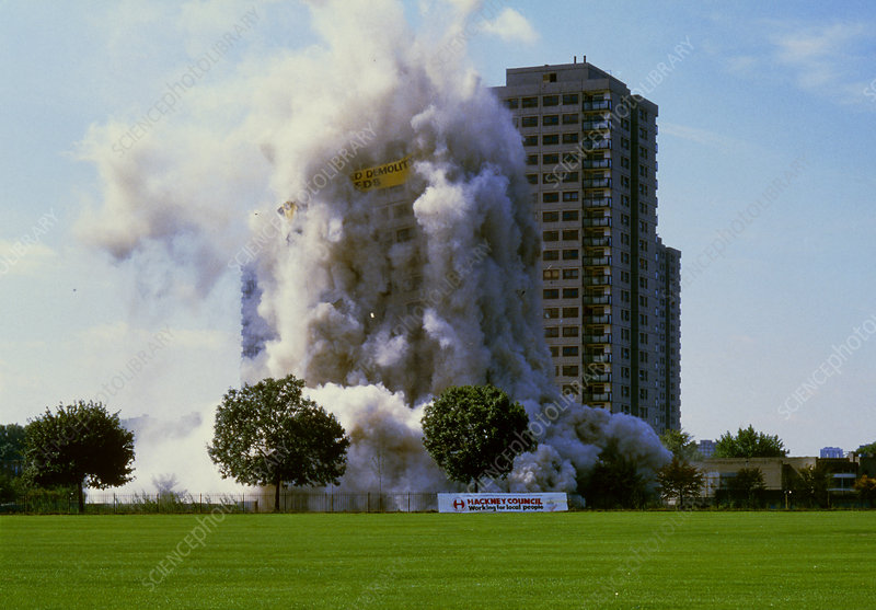Controlled demolition of tower block