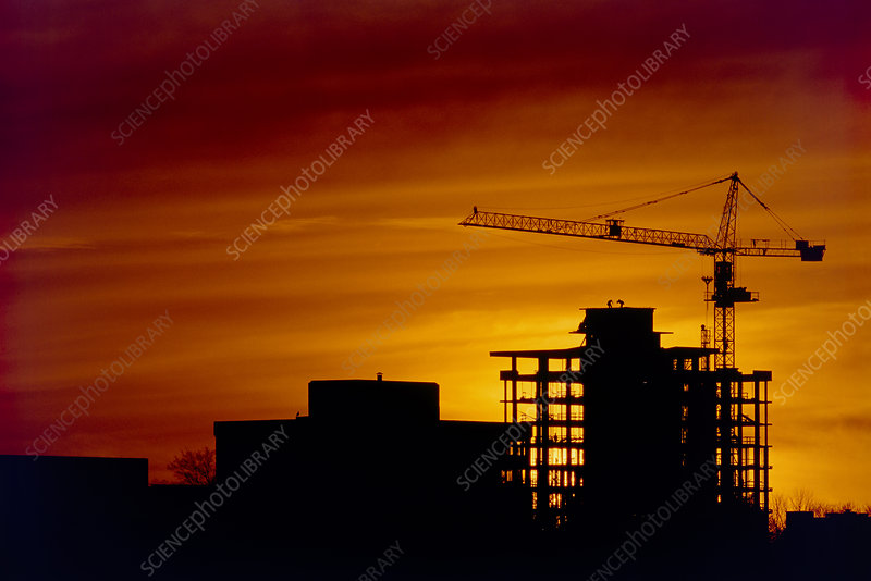 Sunset & high-rise construction site, Vancouver