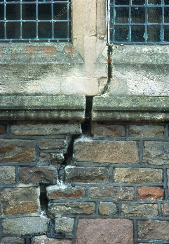 Brick wall and mortar of a church severely cracked