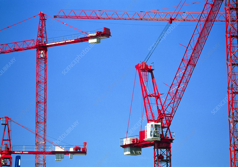 View of cranes on a construction site