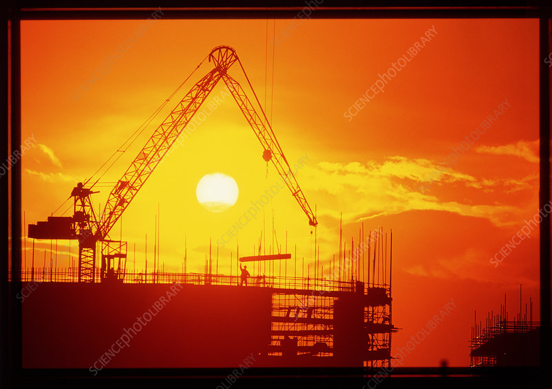View of a construction site at sunset