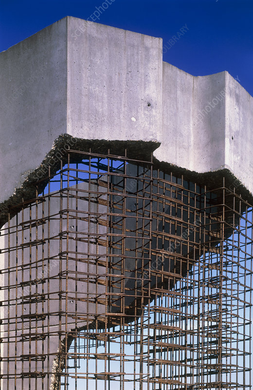Reinforced concrete bridge under construction